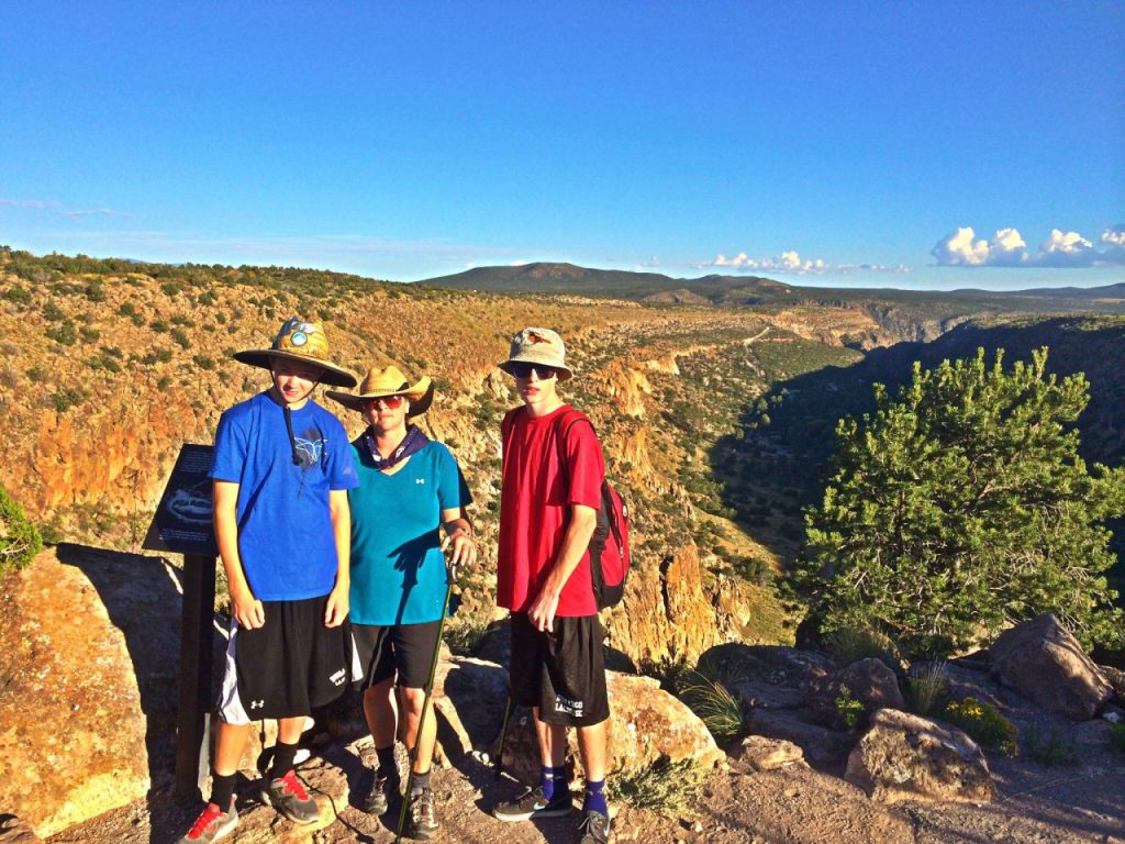 Tracy and the Boys Overlooking  Frijoles Canyon