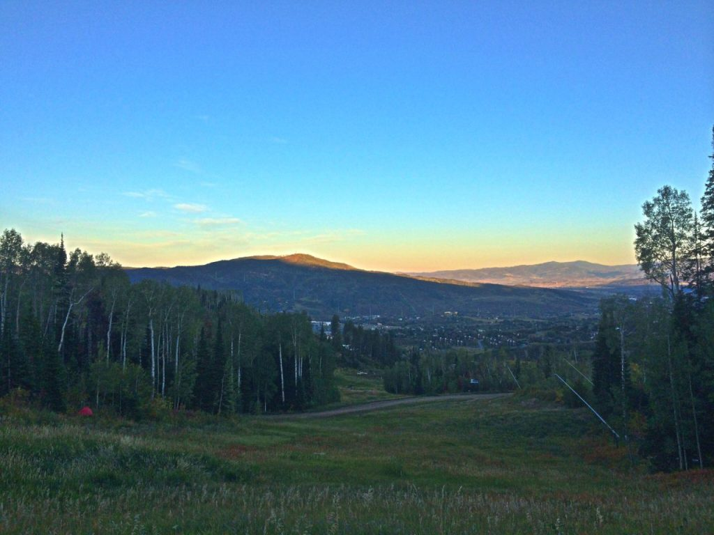 ILooking East watching the sunrise over Steamboat Springsa, Colorado